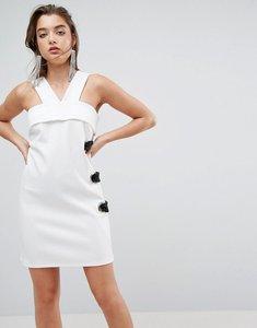 Read more about Asos scuba eyelet mini shift dress - white