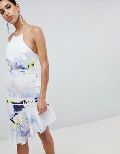 Read more about Asos design abstract racer neck pephem midi dress - multi