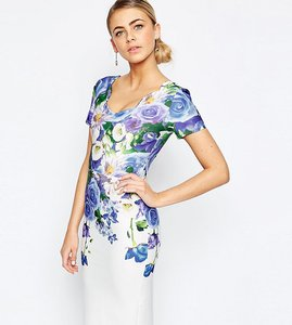 Read more about Hope and ivy floral pencil dress with scallop neck - blue multi