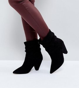 Read more about Asos reeves wide fit slouch heeled ankle boots - black