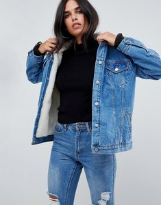 Read more about Chorus oversized denim jacket with borg lining - blue indigo