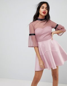 Read more about Asos dobby high neck fluted sleeve mini skater dress - dusky pink
