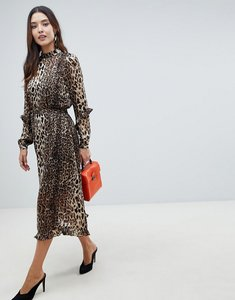 Read more about Y a s animal print highneck maxi dress - black w leo aop