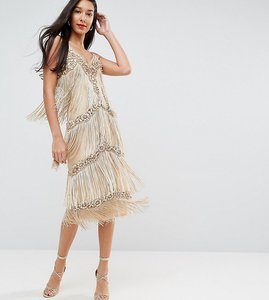 Read more about A star is born tall embellished tassel midi dress - gold