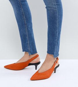Read more about Asos safari premium leather kitten heels - orange