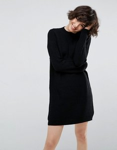 Read more about Asos chunky knit dress in rib with high neck - black