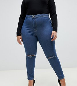 Read more about Asos design curve rivington high waisted jegging in mid wash blue with knee rips