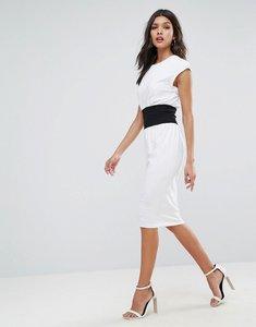 Read more about Asos corset waist detail midi t-shirt dress - white black