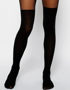 Read more about Asos mock over the knee tights with bum and tum support - black