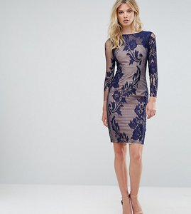 Read more about Little mistress tall all over mesh lace pencil dress - navy