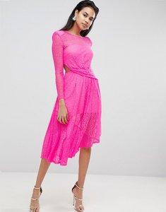 Read more about Asos neon lace asymmetric hem midi dress - neon pink