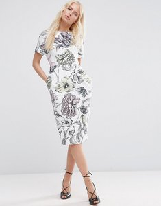 Read more about Asos wiggle dress in pale wallpaper print - white print