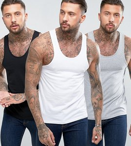 Read more about Asos vest 3 pack save - white blk grey marl