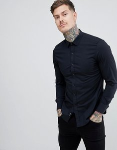 Read more about Replay slim stretch poplin shirt in black - black
