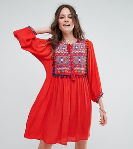 Read more about Glamorous tall smock dress with mirror embroidery and pom pom trim - red