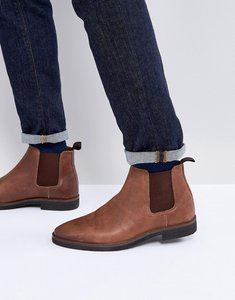 Read more about Asos chelsea boots in brown leather with black contrast sole - brown