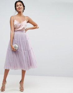 Read more about Asos tiered tulle prom skirt with high waisted detail - lilac