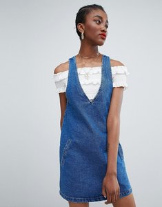 Read more about New look deep v neck pinny dress - mid blue