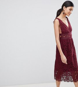Read more about Y a s tall lace midi skater dress in burgundy