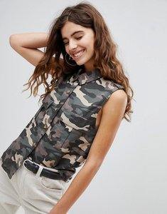 Read more about Bershka camo sleeveless shirt in khaki - khaki