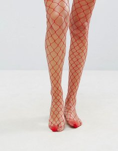 Read more about Asos oversized fishnet tights in red - red