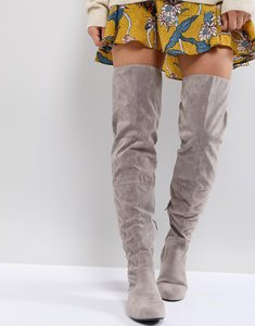 Read more about Daisy street lace back grey over the knee boots - grey