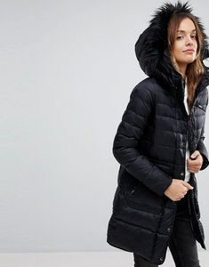 Read more about Vero moda down longline padded jacket with faux fur collar - black