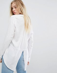 Read more about Hollister boyfriend shirt with slit back detail - white