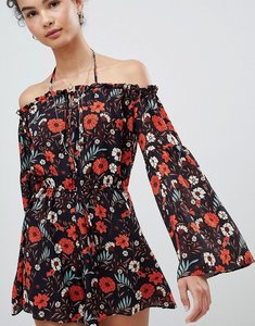 Read more about Glamorous floral cold shoulder playsuit - red blue floral