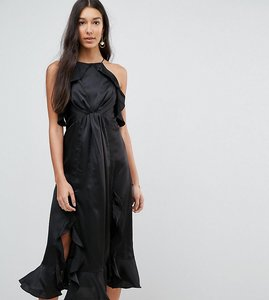 Read more about Jarlo tall high neck ruffle detail cami midi dress - black