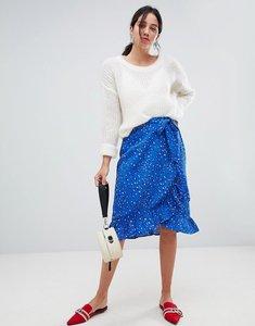Read more about Vero moda aware animal print wrap skirt - blue