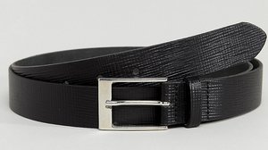 Read more about Asos plus smart slim belt in black leather with saffiano emboss - black