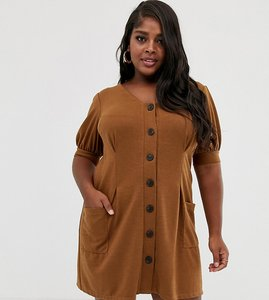 Read more about Asos design curve puff sleeve textured dress with faux horn buttons
