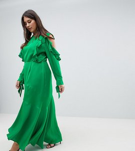 Read more about Asos design curve ruffle sleeve maxi dress with cold shoulder - green