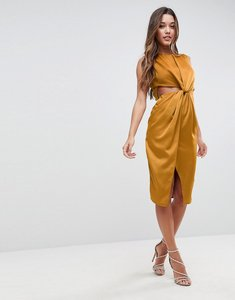 Read more about Asos twist front sexy satin pencil dress with cut out - gold