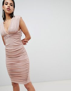 Read more about Asos design slinky super ruched low back midi dress - nude