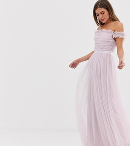 Read more about Anaya with love tulle ruffle shoulder bardot maxi dress with satin trim in soft pink