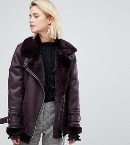 Read more about Warehouse faux leather look aviator jacket - berry