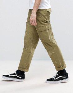 Read more about Asos slim cargo trousers with rip repair detail in khaki - nutria khaki