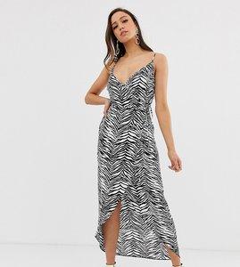 e8d4dc140aed5 Read more about Asos design tall cami wrap maxi dress in mono zebra print