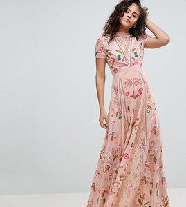 Read more about Frock and frill tall allover embroidered plunge front maxi dress - pink