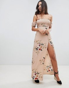 Read more about Girl in mind floral bardot maxi dress - beige