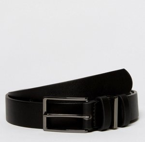 Read more about Asos smart slim belt in black faux leather with triple keeper - black