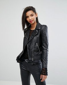 Read more about Mango minimal biker jacket - black