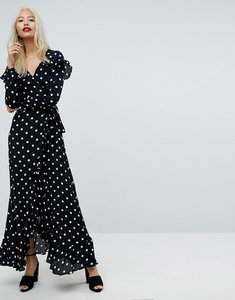 Read more about Asos maxi dress with ruffle detail and open back in spot - multi