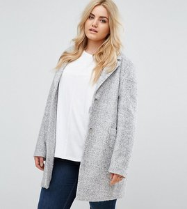 Read more about Asos curve fabric interest cocoon coat - grey