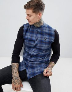 Read more about Siksilk grandad collar check shirt in blue with jersey sleeves - blue