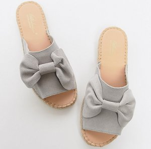 Read more about Park lane wide fit suede bow espadrille sliders - grey