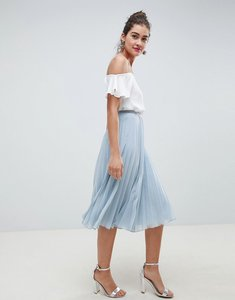 Read more about Asos design pleated midi skirt - dusty blue