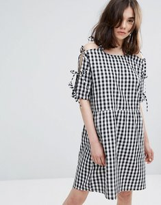Read more about Plain studios cold shoulder smock dress in gingham - mono